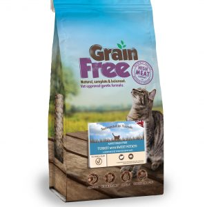 a bag of grain free adult cat food - turkey flavour