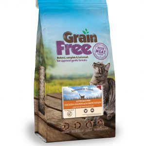 bag of grain free kitten food - chicken & salmon flavour