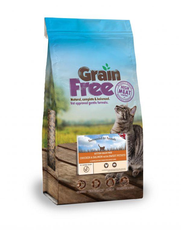 bag of grain free kitten food - chicken & salmon flavour
