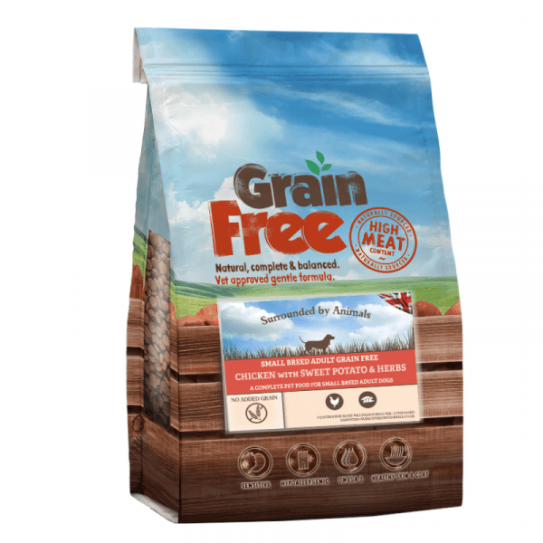 chicken flavoured grain free adult dog food for small breeds