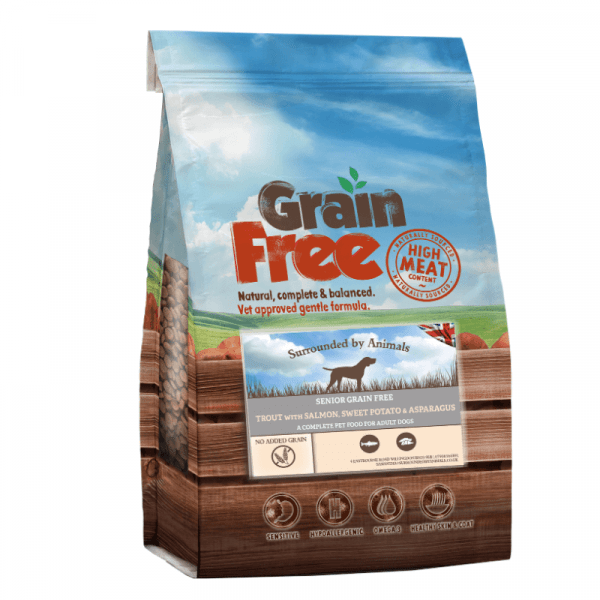 trout flavoured grain free dog food for senior dogs