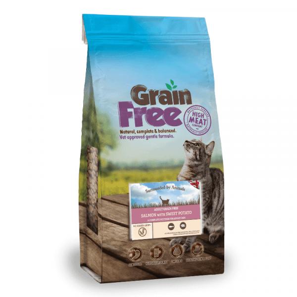 salmon flavoured grain free adult cat food