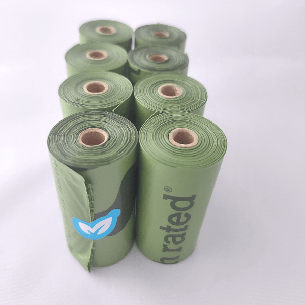8 rolls of unscented earth rated poop bags