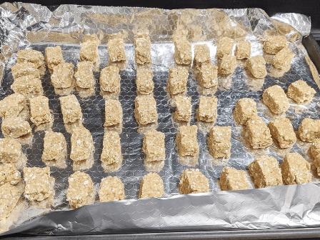 a tray of homemade dog treats
