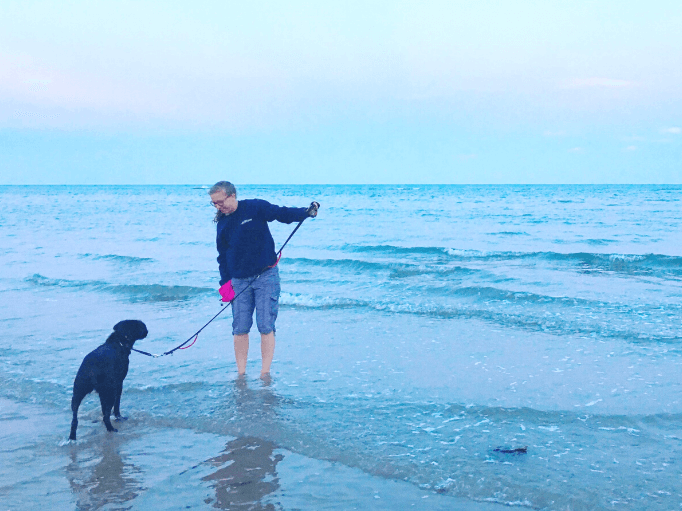 an owner showing her dog the sea is safe